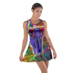 Abstract Elephant With Butterfly Ears Colorful Galaxy Cotton Racerback Dress