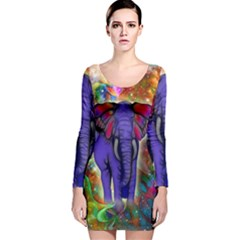 Abstract Elephant With Butterfly Ears Colorful Galaxy Long Sleeve Velvet Bodycon Dress by EDDArt