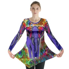 Abstract Elephant With Butterfly Ears Colorful Galaxy Long Sleeve Tunic