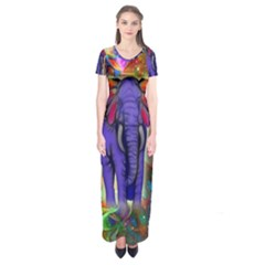 Abstract Elephant With Butterfly Ears Colorful Galaxy Short Sleeve Maxi Dress