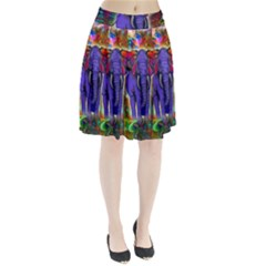 Abstract Elephant With Butterfly Ears Colorful Galaxy Pleated Skirt