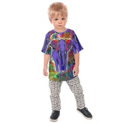 Abstract Elephant With Butterfly Ears Colorful Galaxy Kids  Raglan Tee
