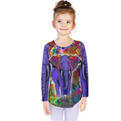 Abstract Elephant With Butterfly Ears Colorful Galaxy Kids  Long Sleeve Tee