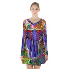 Abstract Elephant With Butterfly Ears Colorful Galaxy Long Sleeve Velvet V Neck Dress