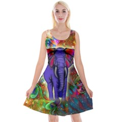 Abstract Elephant With Butterfly Ears Colorful Galaxy Reversible Velvet Sleeveless Dress