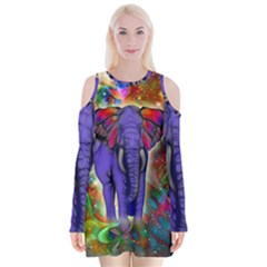 Abstract Elephant With Butterfly Ears Colorful Galaxy Velvet Long Sleeve Shoulder Cutout Dress