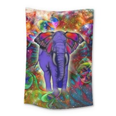 Abstract Elephant With Butterfly Ears Colorful Galaxy Small Tapestry by EDDArt