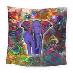 Abstract Elephant With Butterfly Ears Colorful Galaxy Square Tapestry (large)
