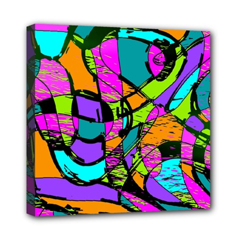 Abstract Art Squiggly Loops Multicolored Mini Canvas 8  X 8