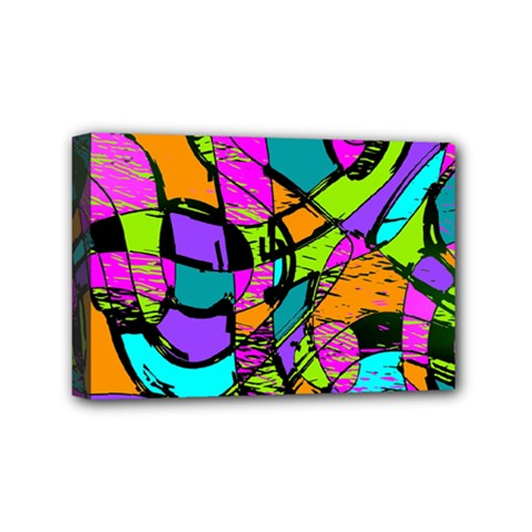 Abstract Art Squiggly Loops Multicolored Mini Canvas 6  X 4