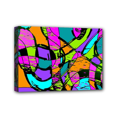 Abstract Art Squiggly Loops Multicolored Mini Canvas 7  X 5  by EDDArt