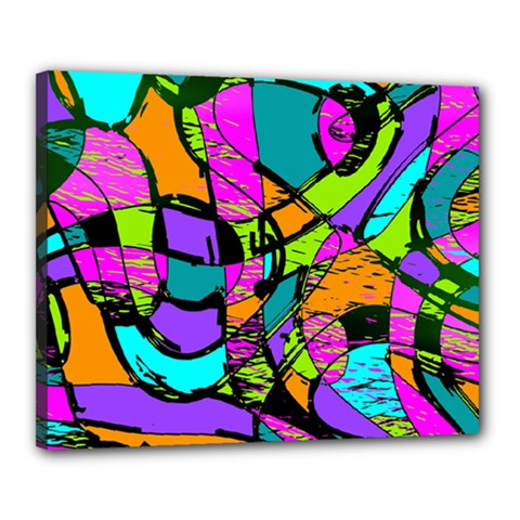 Abstract Art Squiggly Loops Multicolored Canvas 20  X 16  by EDDArt