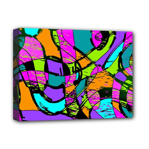 Abstract Art Squiggly Loops Multicolored Deluxe Canvas 16  X 12   by EDDArt