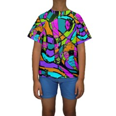 Abstract Art Squiggly Loops Multicolored Kids  Short Sleeve Swimwear by EDDArt