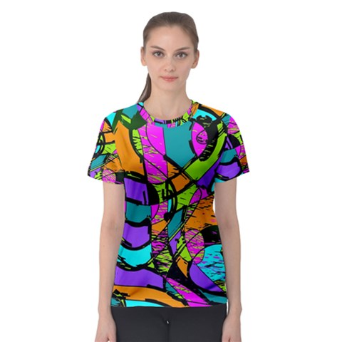 Abstract Art Squiggly Loops Multicolored Women s Sport Mesh Tee by EDDArt