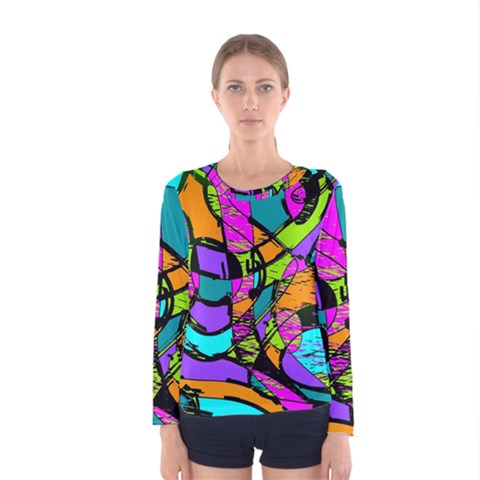Abstract Art Squiggly Loops Multicolored Women s Long Sleeve Tee by EDDArt