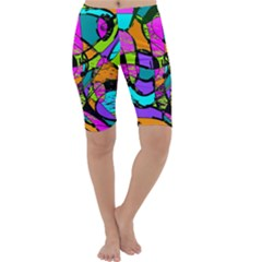 Abstract Art Squiggly Loops Multicolored Cropped Leggings