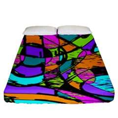 Abstract Art Squiggly Loops Multicolored Fitted Sheet (queen Size)