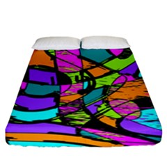 Abstract Art Squiggly Loops Multicolored Fitted Sheet (king Size) by EDDArt