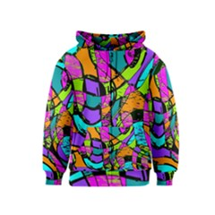 Abstract Art Squiggly Loops Multicolored Kids  Zipper Hoodie
