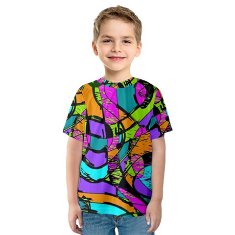 Abstract Art Squiggly Loops Multicolored Kids  Sport Mesh Tee by EDDArt
