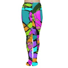 Abstract Art Squiggly Loops Multicolored Women s Tights