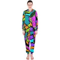 Abstract Art Squiggly Loops Multicolored Hooded Jumpsuit (ladies)  by EDDArt