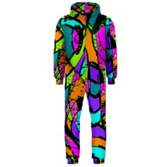 Abstract Art Squiggly Loops Multicolored Hooded Jumpsuit (men)