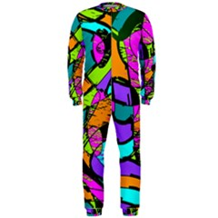 Abstract Art Squiggly Loops Multicolored Onepiece Jumpsuit (men)