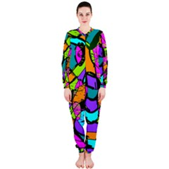 Abstract Art Squiggly Loops Multicolored Onepiece Jumpsuit (ladies)  by EDDArt