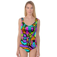 Abstract Art Squiggly Loops Multicolored Princess Tank Leotard  by EDDArt