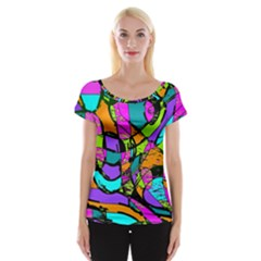 Abstract Art Squiggly Loops Multicolored Women s Cap Sleeve Top by EDDArt