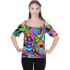 Abstract Art Squiggly Loops Multicolored Women s Cutout Shoulder Tee by EDDArt