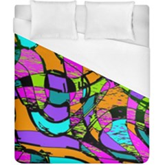 Abstract Art Squiggly Loops Multicolored Duvet Cover (california King Size) by EDDArt
