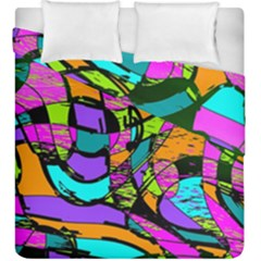 Abstract Art Squiggly Loops Multicolored Duvet Cover Double Side (king Size) by EDDArt
