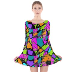 Abstract Art Squiggly Loops Multicolored Long Sleeve Velvet Skater Dress