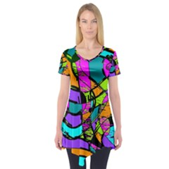 Abstract Art Squiggly Loops Multicolored Short Sleeve Tunic  by EDDArt