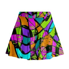 Abstract Art Squiggly Loops Multicolored Mini Flare Skirt by EDDArt
