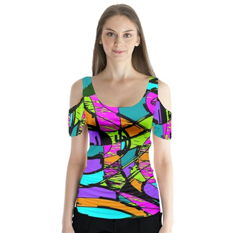 Abstract Art Squiggly Loops Multicolored Butterfly Sleeve Cutout Tee  by EDDArt