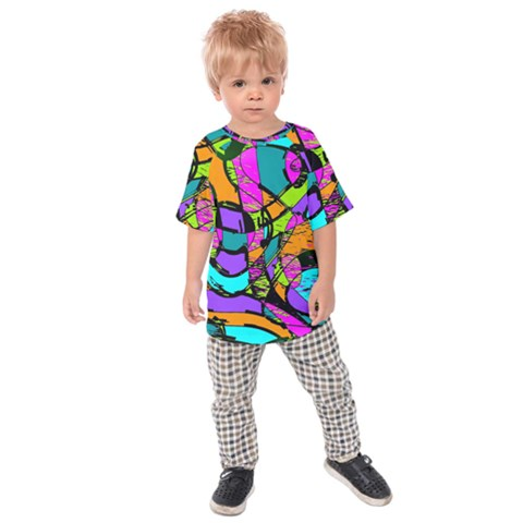 Abstract Art Squiggly Loops Multicolored Kids  Raglan Tee by EDDArt
