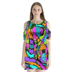 Abstract Art Squiggly Loops Multicolored Shoulder Cutout Velvet  One Piece