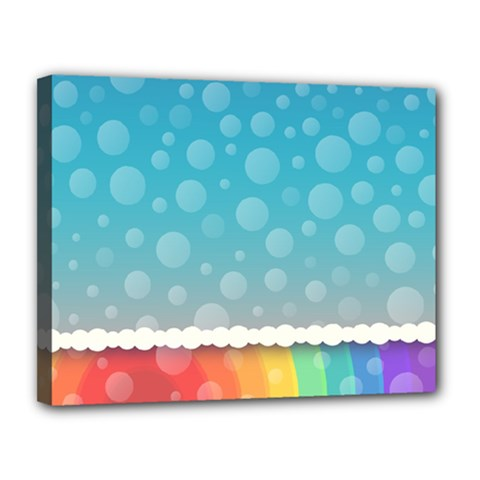 Rainbow Background Border Colorful Canvas 14  X 11