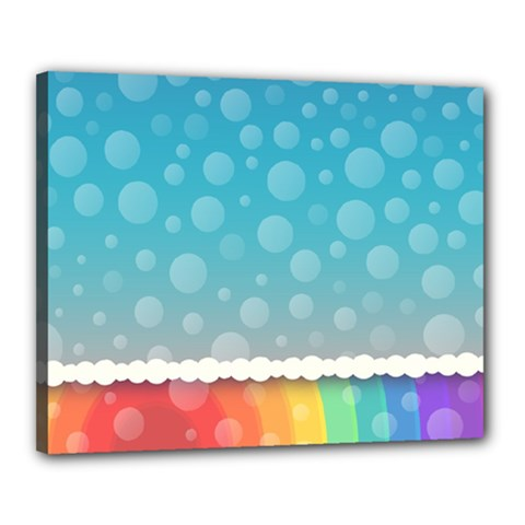 Rainbow Background Border Colorful Canvas 20  X 16