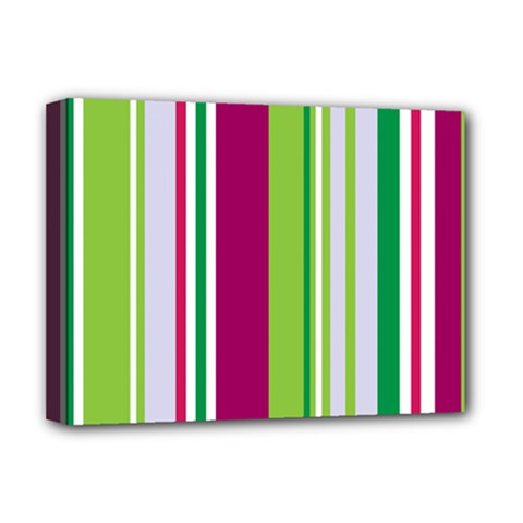 Beautiful Multi Colored Bright Stripes Pattern Wallpaper Background Deluxe Canvas 16  X 12   by Amaryn4rt