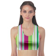 Beautiful Multi Colored Bright Stripes Pattern Wallpaper Background Sports Bra by Amaryn4rt