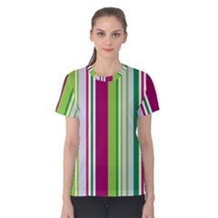 Beautiful Multi Colored Bright Stripes Pattern Wallpaper Background Women s Cotton Tee by Amaryn4rt