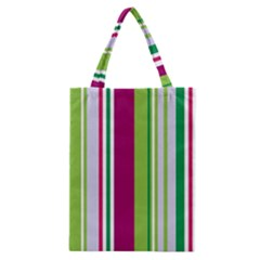 Beautiful Multi Colored Bright Stripes Pattern Wallpaper Background Classic Tote Bag by Amaryn4rt