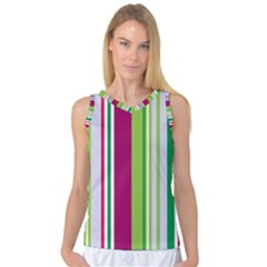 Beautiful Multi Colored Bright Stripes Pattern Wallpaper Background Women s Basketball Tank Top by Amaryn4rt