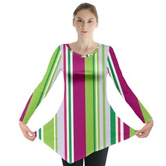 Beautiful Multi Colored Bright Stripes Pattern Wallpaper Background Long Sleeve Tunic