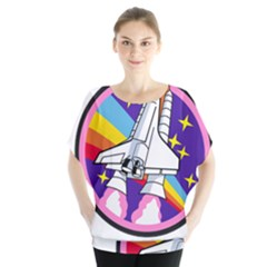 Badge Patch Pink Rainbow Rocket Blouse by Amaryn4rt